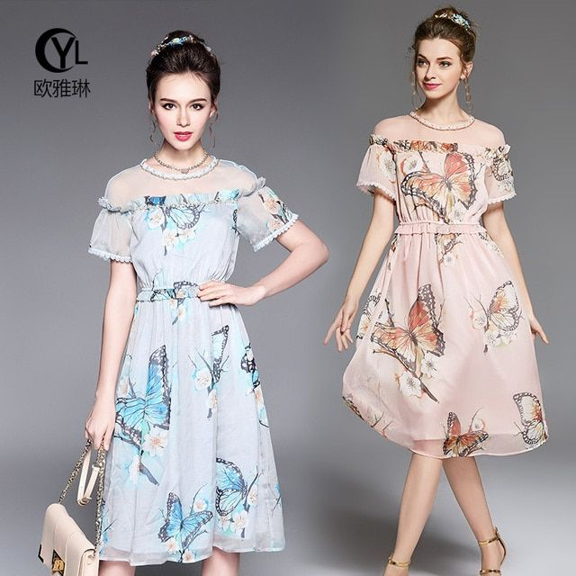 Ouyalin L-5XL Chiffon Printed Summer Long Dresses 2017 Elastic Waist Short Sleeve Beach Midi Dresses Pink Light Blue