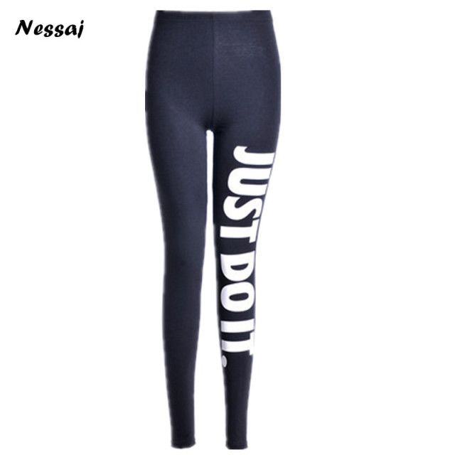 Nessaj New Women Leggings Printed Black Stretchy Leggings Casual Sexy Elastic Leggings High Waist Leggings Stretched Pants 2017