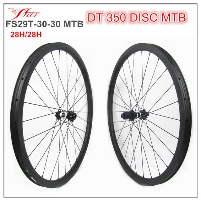 XC MTB wheelsets 30mm x 30mm clincher rims, 29er tubeless and hookless mountain bicycle wheelsets, 6 bolts disc 12mm thru axle