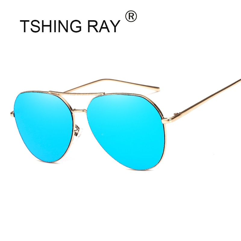 TSHING RAY Fashion Oversized Rose Gold Aviation Sunglasses Women Men Vintage Big Mirrored Pilot Sun Glasses For Female Driving
