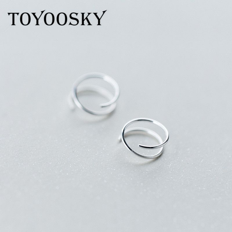 TOYOOSKY 925 Sterling Silver Small Ear Bones Ear Buckle Ring 6mm 8mm 10mm Tightly Packed Mini Double Ring Earrings
