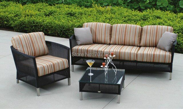 New Products Sardinia Outdoor Furniture Poly Rattan 4 Seater Patio Sofa Set