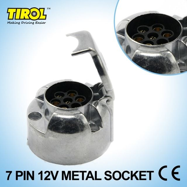 Tirol 7-Pin Trailer Socket  Heavy-Duty 7-Pole Round Pin Socket 12V Towbar Towing Socket N Type -Vehicle End T10159d 5Pieces/lot