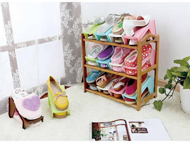Fashion Plastic Shoe Rack Double three-dimensional storage Creative Shoe cabinet shoe racks for Shoe Living Room Bedroom Shoebox