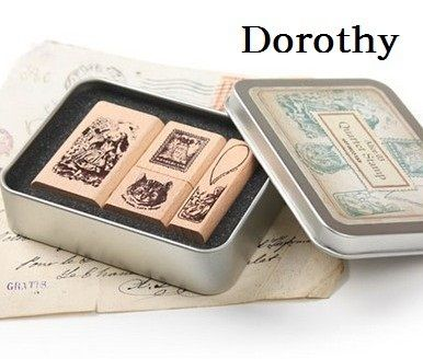 1 Box/pack Retro Vintage DIY Dorothy Quartet Series Diary Wooden Rubber Stamp with Iron Box Clear Stamps For Scrapbooking
