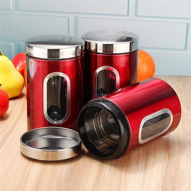 New 3pcs/set Stainless Steel Window Canister Tea Coffee Sugar Nuts Beans Candy Jar Storage Chest Set Tea Coffee Canisters