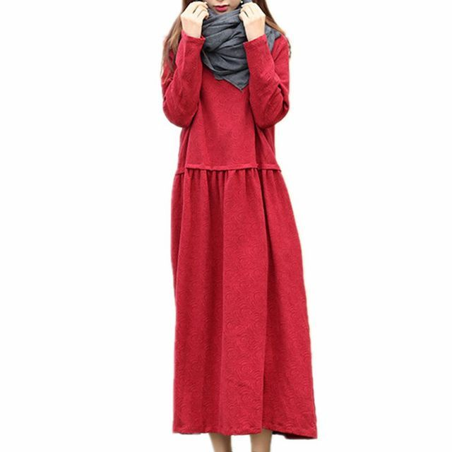 Womens Long Sleeve Loose Cotton Dress Ladies Elegant Dresses Woman Spring Casual Long Pull Dress Black Red