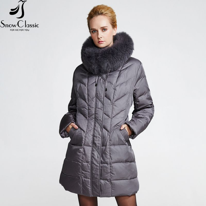 SnowClassic winter down coat jacket Plus Size women warm 2018 parka Thick long solid Real Fox Fur Collar Down coats jacket 12029