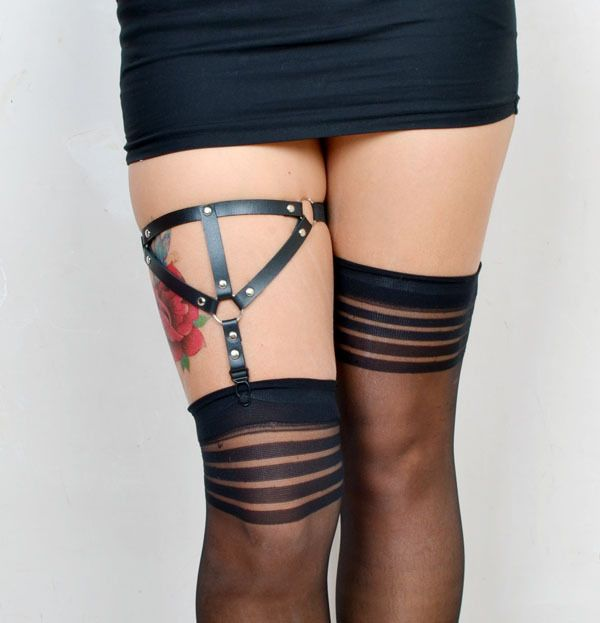 2016  Hot new leg ring, sexy black belt stockings, leather vintage wedding bridal garters