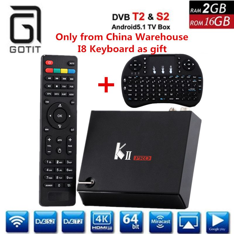 GOTIT Kii PRO Android DVB Combo Decoder DVB-S2 DVB T2 4K UHD Receiver CPU 2/16G Blutooth With CCcam-clines K2 PRO Set top Box