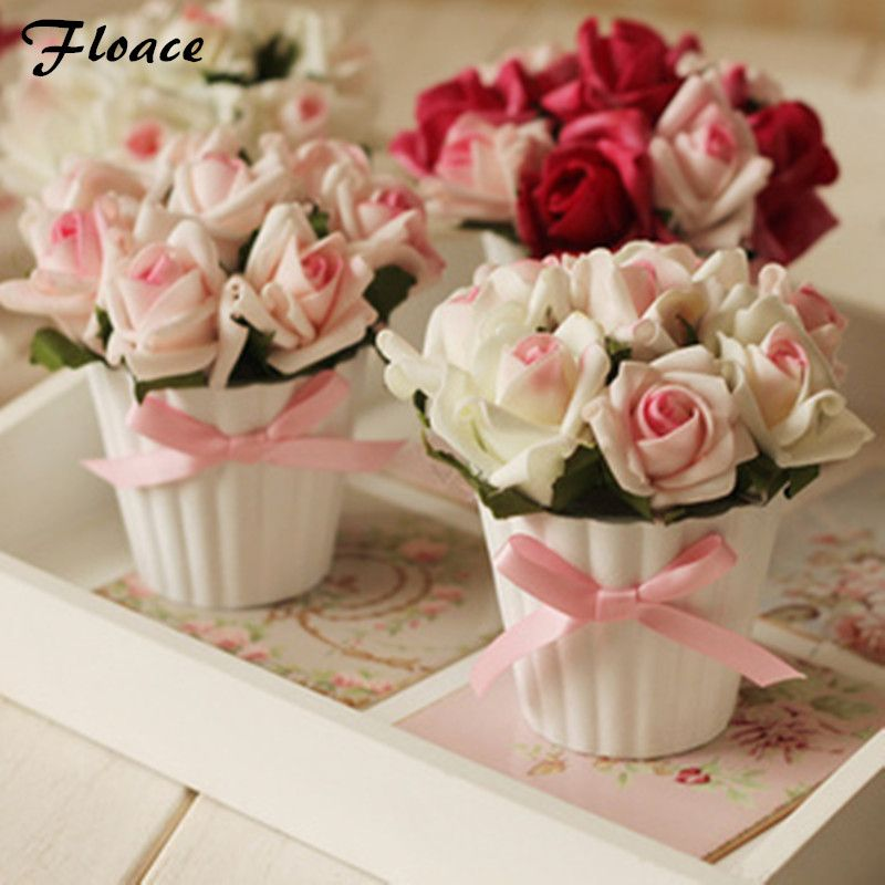 Floace Small pots Artificial flower vase rose bonsai home decoration artificial flower gift decoration flower