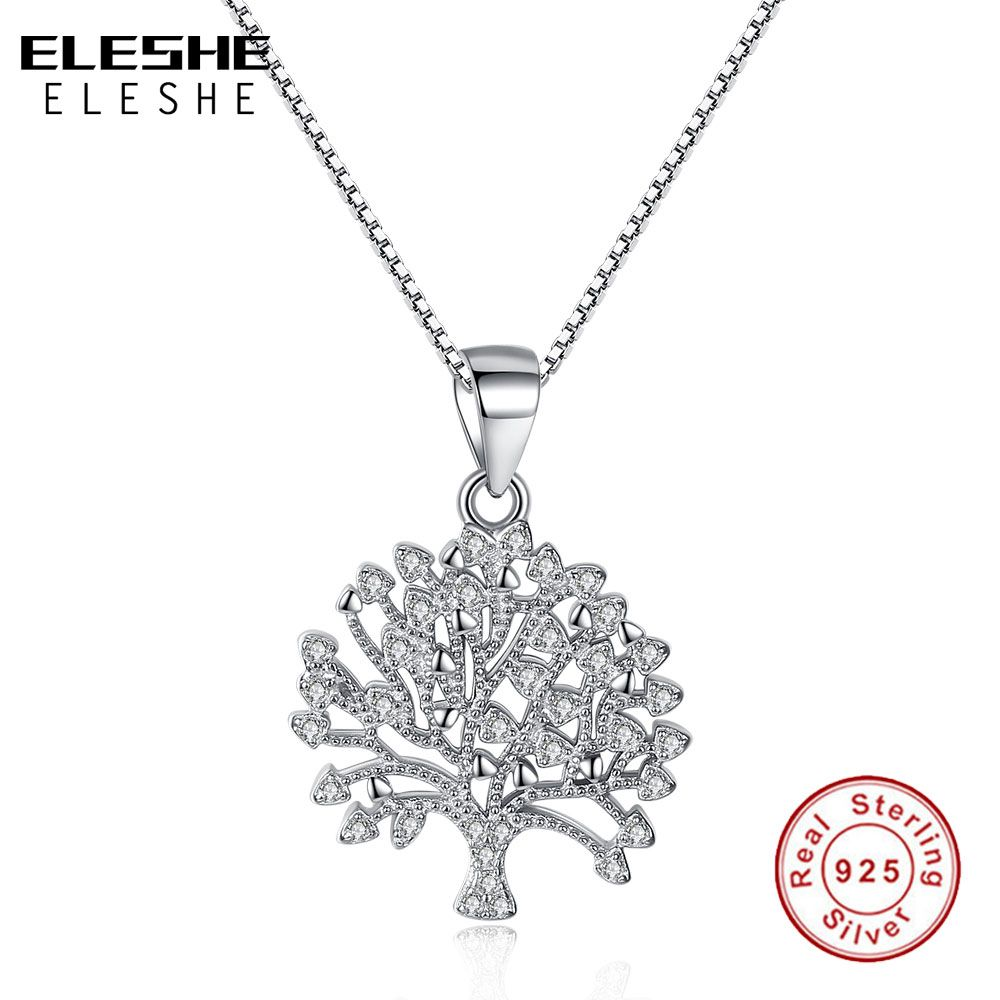 ELESHE Vintage 925 Sterling Silver Family Tree of life Crystal Pendant Necklace For Women Long Chain Necklace Fashion Jewelry