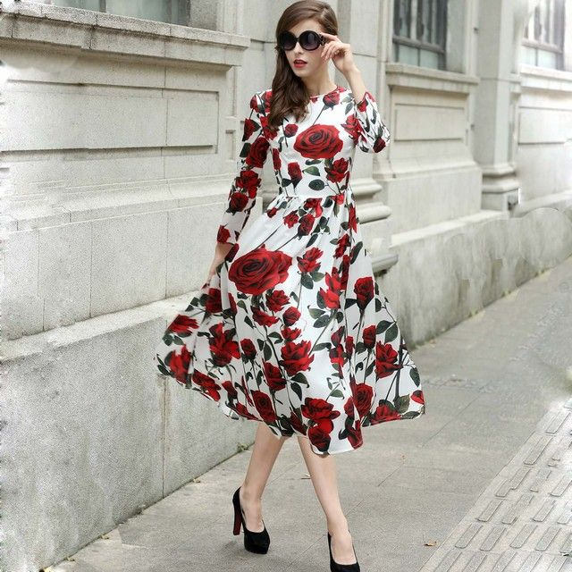 2018 Newest  Fall Great Brand Italy Sicily Long Sleeve O-Neck Print Rose Flower Elegant Silk Casual Dress For Women