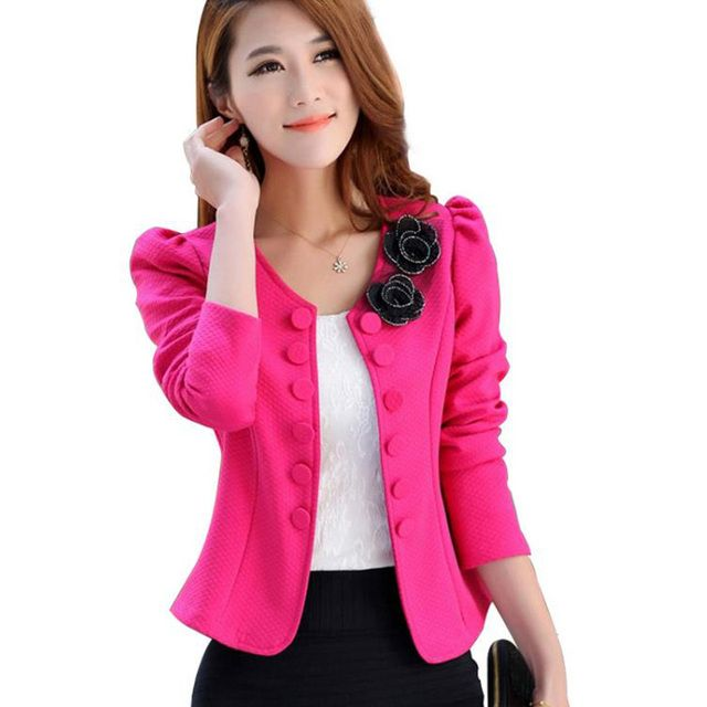 2017 Autumn New Fashion Women Jacket Coat Slim OL Outerwear Plus size Double Breasted Small Suit Brazer Feminino Bleiser Mujer