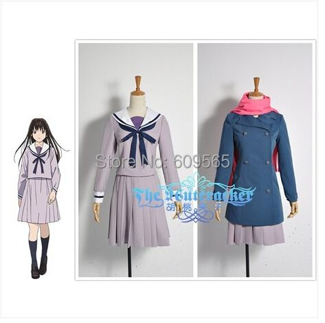 Free Shipping! Noragami Cosplay Costume Sailor Suit Uniform For Women Customize A coat, jacket, skirt, ties, scarves, Socks
