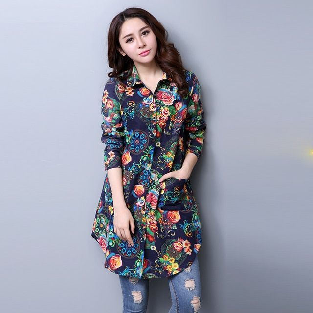 2018 Spring and autumn Fashion Style Cotton Women Blouses Top Medium Long Shirts Fancy Pattern Long Sleeve Blouse Plus Size