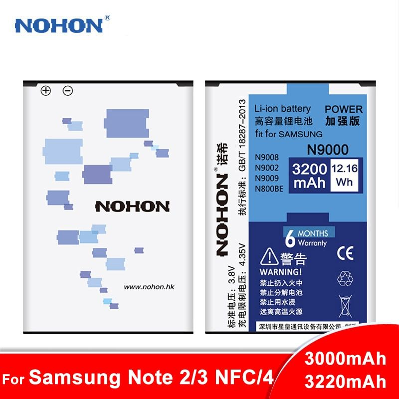 Original NOHON Battery For Samsung Galaxy Note 2 3 4 Note2 N7100 Note3 NFC N9000 Note4 N9100 N910X Real High Capacity Bateria