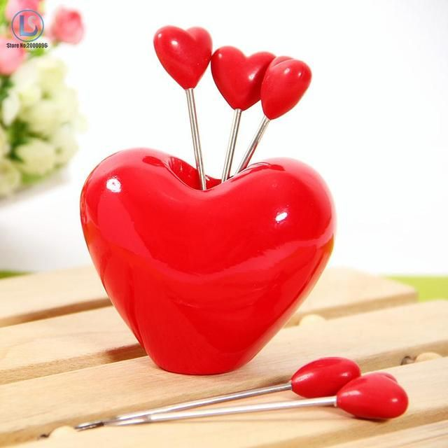 5pcs * Love Forks, 1pcs* Love Holder Novelty Red Heart Stainless Steel Fruit Fork Dessert Spoon Set A202