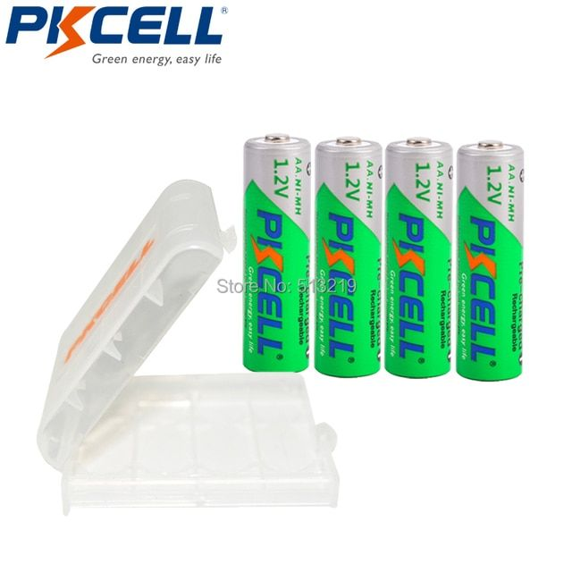 4 Pieces PKCELL Low Self-Discharge AA 1.2V 2200mAh Pre-charged Ni-MH AA Rechargeable Batteries And Battery HOLD CASE BOX
