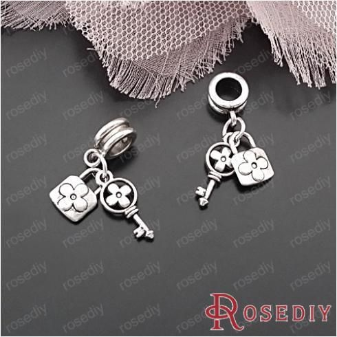 (28830)Diy Jewelry Accessories,Vintage Bracelet Charms,Full height 30MM,hole 5MM Large hole beads key and lock Charm 10PCS