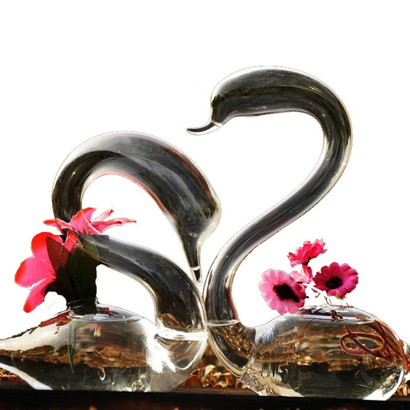 OnnPnnQ Swan Glass Floor Vase Decoration Home Glass Terrarium Vase for Wedding Decoration  Flower Vases Decoratives for Homes