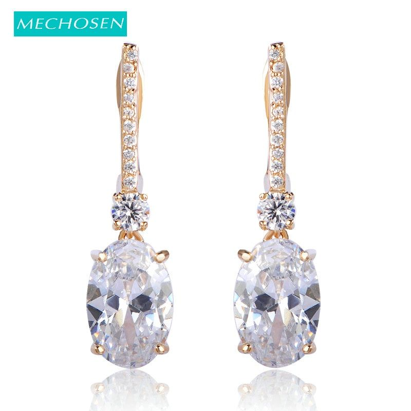 MECHOSEN Rhinestone Square Stud Earrings For Women Princess Buckle Ears Accessories Wedding Bridal Party Ouro Oorbellen Joyas
