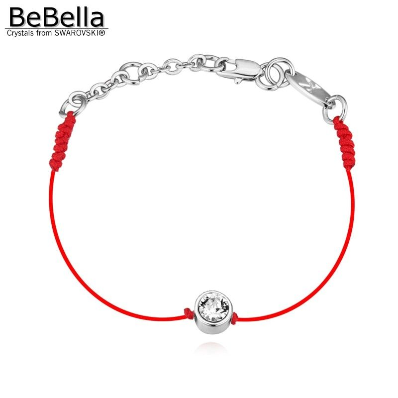 BeBella thin red cord thread string rope line bracelet with Crystals from Swarovski gold color plated chain 2018 women girl gift