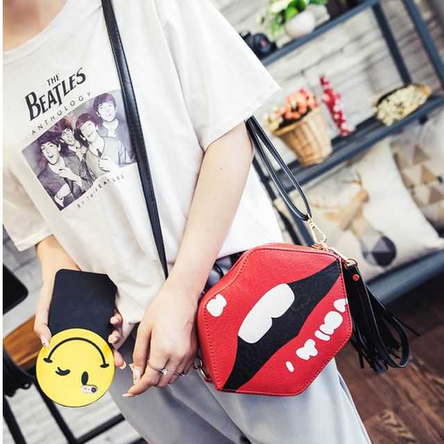 Novelty Funny Bag Women Brand Shoulder Bags Luxury Handbag PU Leather Bags Red Lips Clutch Purse Mini Crossbody Sweet Bag 333