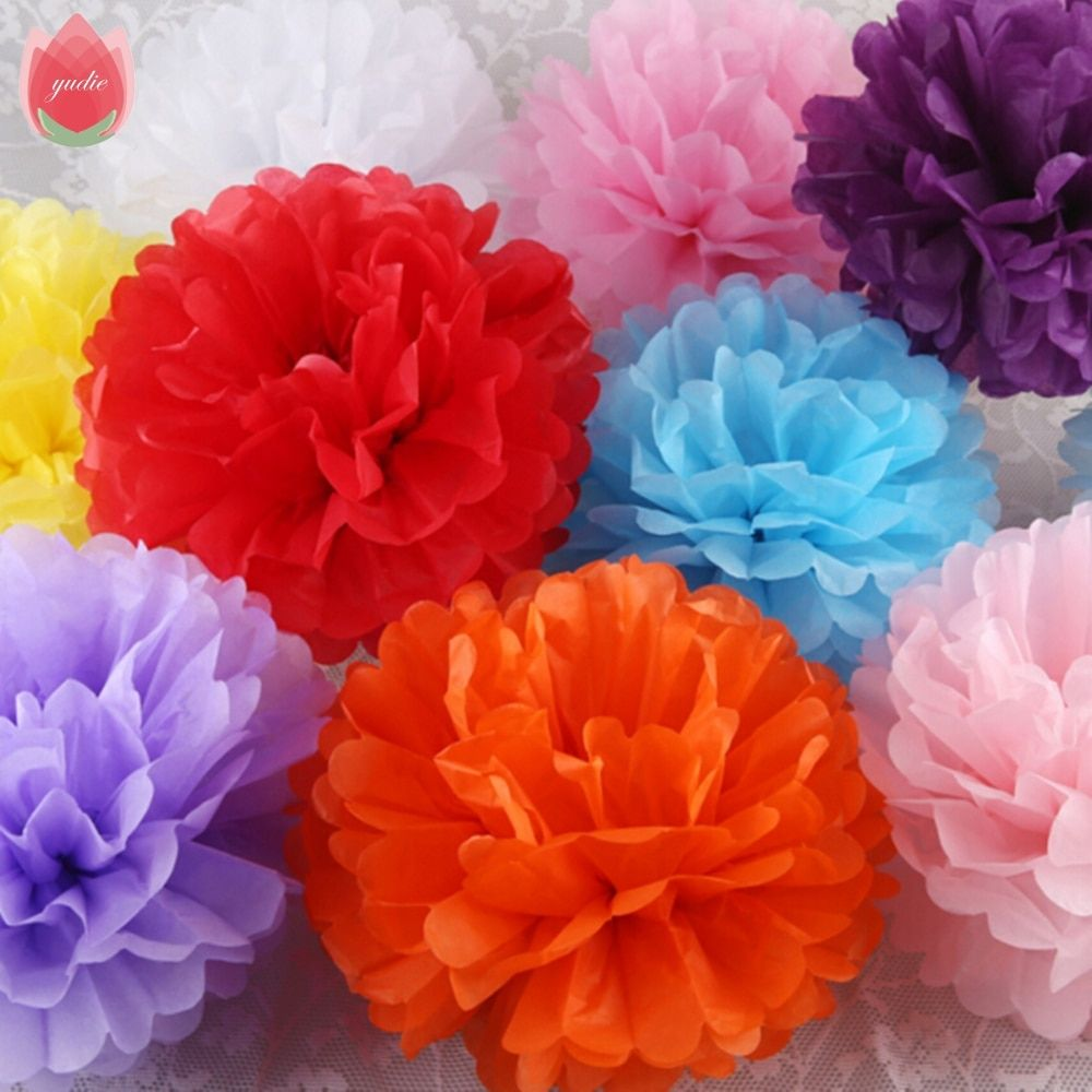 Diameter 25cm 5pcs Paper PomPom Tissue Flowers Balls For Home Wedding Party Car Room Decoration Mariage Pompon Crafts Supplies