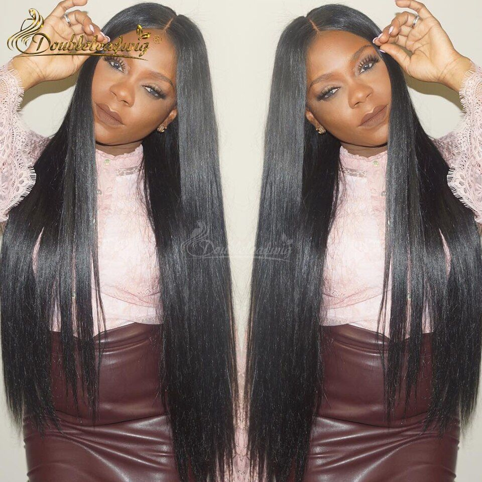 Doubleleafwig Brazilian Virgin Full Lace Human Hair Wigs Glueless Full Lace Front Wig Natural Black Straight Wig for Black Women