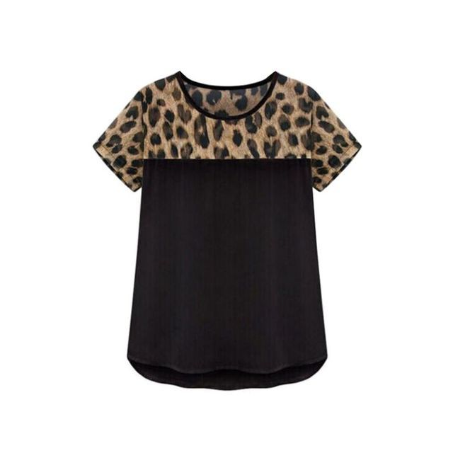 Women Blouse Summer Chiffon Leopard Printed Top Feminina Round Neck Casual Clothing Blusas