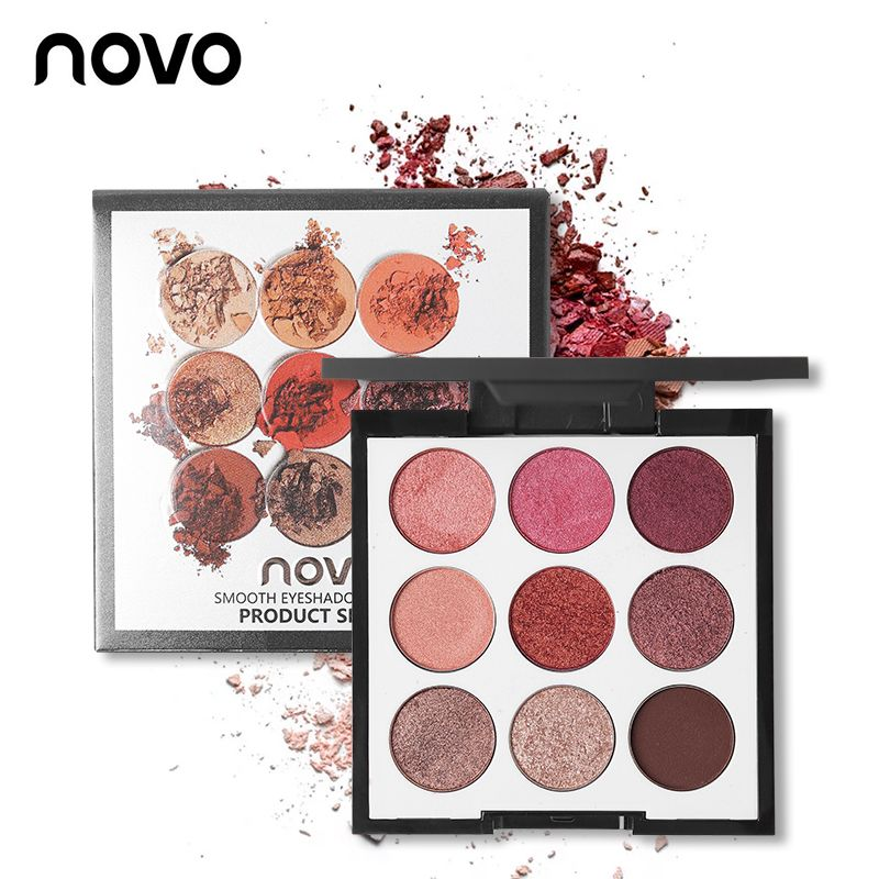 Novo Brand Eye Makeup 9 Color Matte Eyeshadow Palette Set Natural Eye Shadow Pallet Shimmer Powder Nude Warm Beauty Cosmetic Kit
