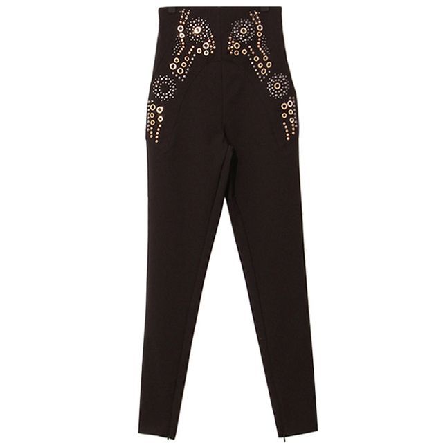S-XL High Waist Elastic Women's Pencil Pants Fashion Rivet Sequins Character Long Pants European Brand Quality Trousers SY926