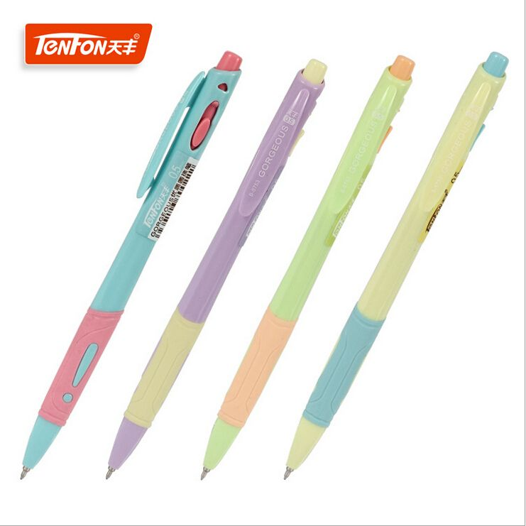 2PCS/lot Hot Sale Stationery Store 0.5mm Blue Ink Ballpoint Pens Multicolor Plastic Flexible Ball Pens School Office Supplies