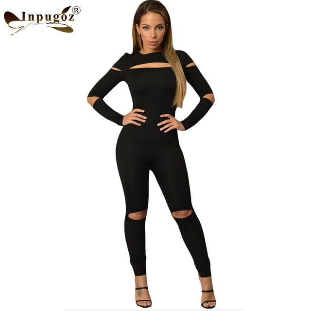 New Sexy Cut Hollow Out Hole Black Women One Piece Jumpsuit Long Sleeve Women Bodysuits Rompers