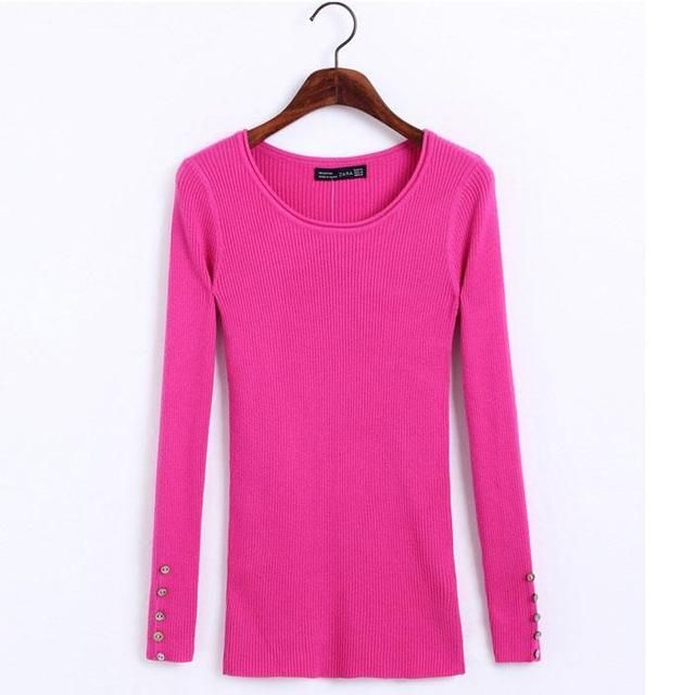 New Winter Sweater Slim Hedging Long-Sleeved Striped Shell Elastic Round Neck Sweater Hedging Women Knitted Pullovers