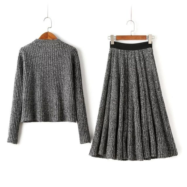 [soonyour] autumn and winter thick thick loose long-sleeved sweater + half-length skirt knitted two-piece suit female