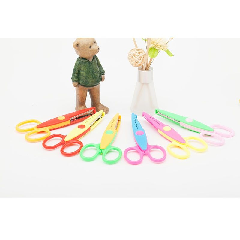6pcs Laciness Scissors Metal and Plastic DIY Scrapbooking Photo Colors Scissors Paper Lace Diary Decoration with 6 Patterns