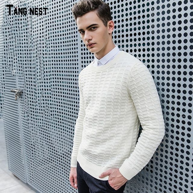 TANGNEST Men's Sweater 2017 New Fashion Men Casual Style Solid O-neck Autumn Sweaters Male Easy Match Top Quality Sweater MZM493
