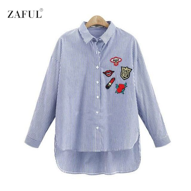 ZAFUL New Spring Autumn Women Embroidery Blouse Shirts  Long Sleeve office Tops Striped blouse for business Blusas