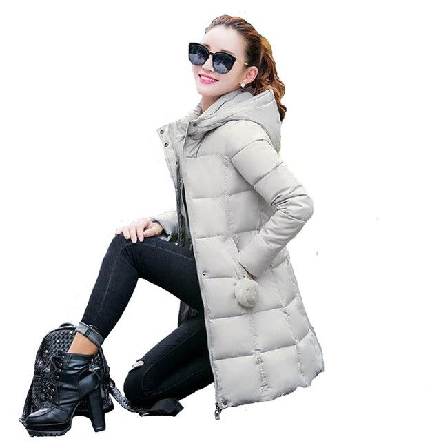 Down Parka Winter Women Cotton Padded Thick Long Coat Plus Size Hooded Female Jackets Solid Color Campera Abrigo Mujer MZ1039