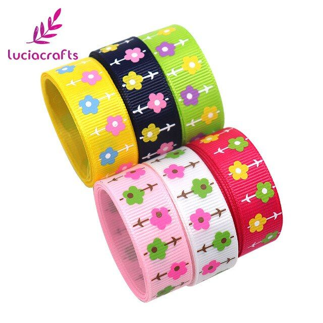 Lucia crafts 2y/6y 16mm Flower Printed Grosgrain Ribbons Wrapping/Party Sewing Accessories Trim Ribbon DIY Material 040054231