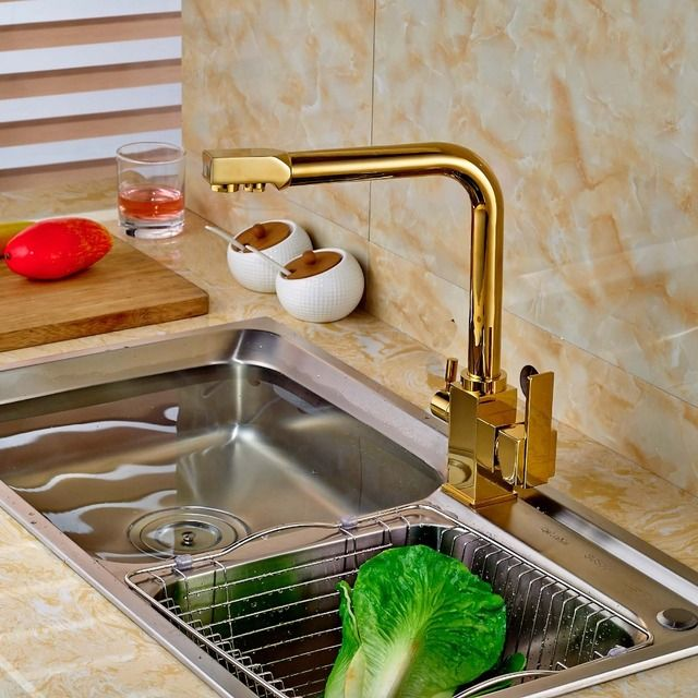 Gold Two Handles Kitchen Mixer Tap Faucet Pure Water Filter Deck Mount