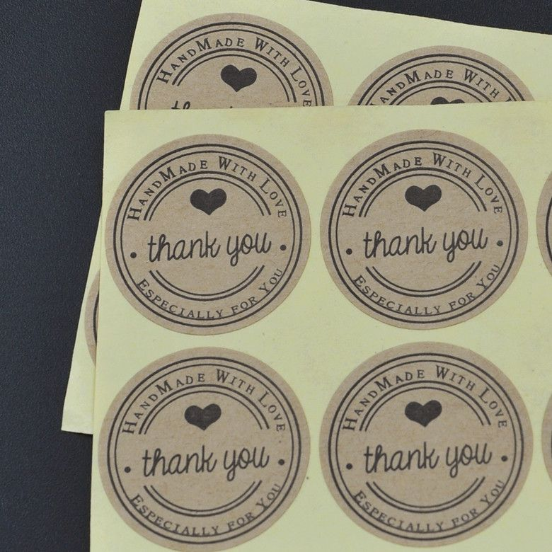 100pcs/lot Thank You love self-adhesive stickers kraft label sticker Diameter 3CM For DIY Hand Made Gift /Cake /Candy paper tags