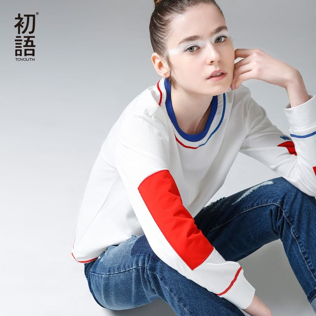 Toyouth 2017 New Arrival T-Shirts Autumn Women Casual Cotton Long Letter Patchwork O-Neck Top