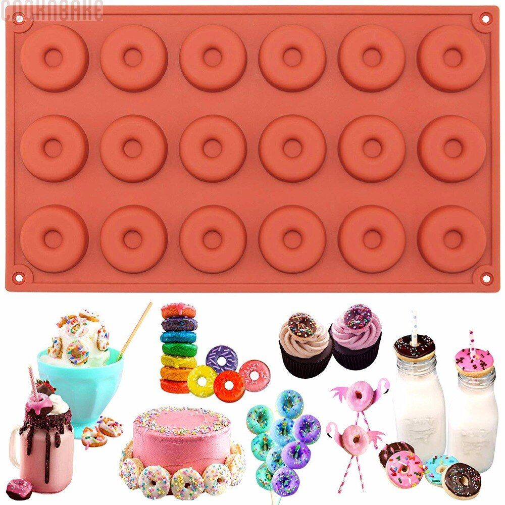COOKNBAKE DIY Silicone Bakeware Mold 18  Mini Donuts  Chocolate Mold Biscuit Cake Mold SCM-001-1
