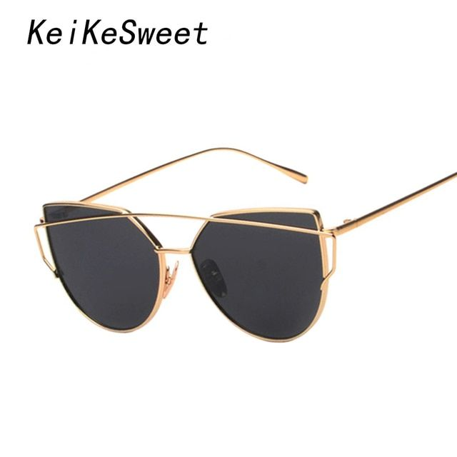 KeiKeSweet Fun Or Cool Brand Designer Mirror Lovely Sunglasses Women Twin-Beams Stylish Ladies UV400 Reflective Top Sun Glasses