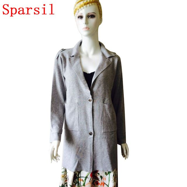 Sparsil Women's Autumn Korean Style Cashmere Blend Cardigan Single Breasted Full Sleeve With Pockets Thick Knitted Sweaters B16