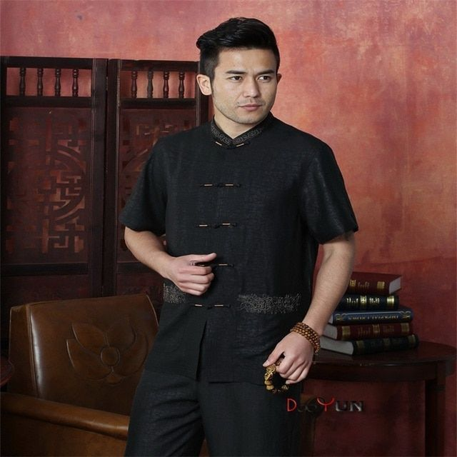 Hot Sale New Chinese Traditional Men's Silk Shirt Kung Fu Tops Short-sleeve Button Free Shipping Size M L XL XXL XXXL 4XL
