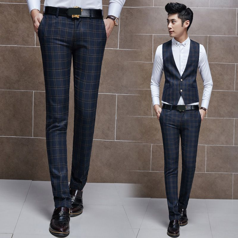 New Men's Trendy Plaid Checked Slim Fit Flat Front Casual Work Office Pants Trousers